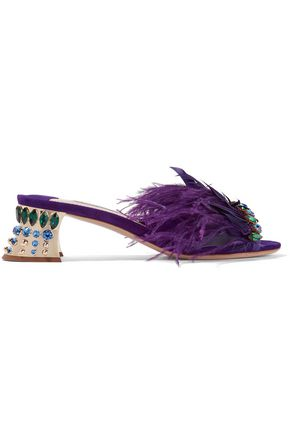 MIU MIU Crystal and feather-embellished suede mules