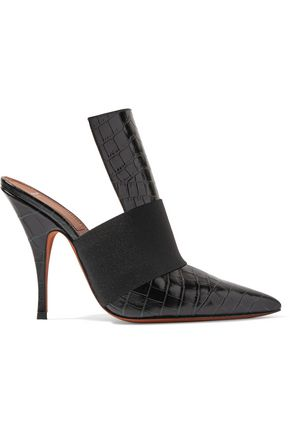 GIVENCHY Elastic-trimmed croc-effect leather mules