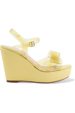 REDValentino Bow-embellished printed PVC and canvas wedge sandals