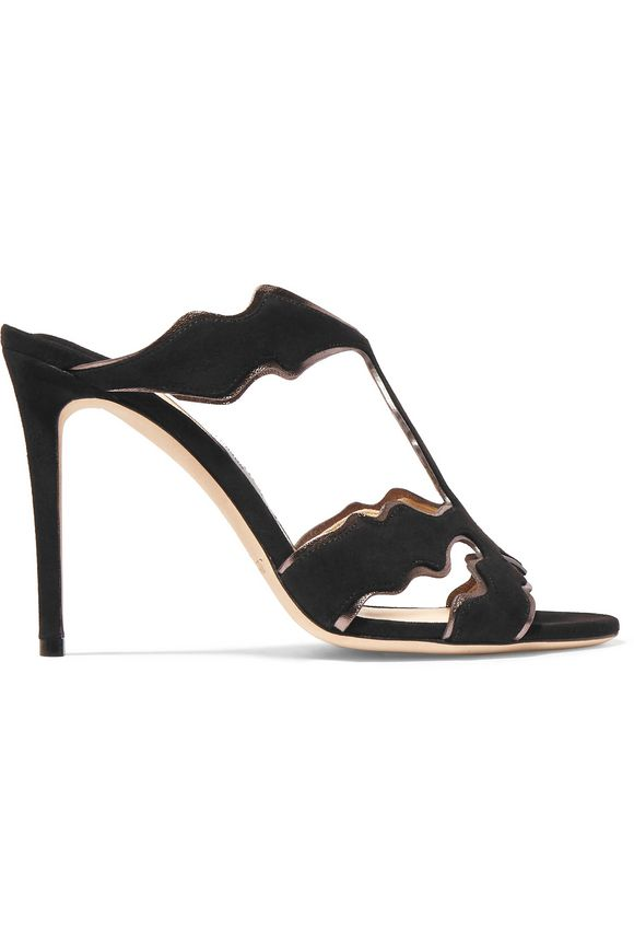 Lanta metallic leather-trimmed suede mules | JIMMY CHOO | Sale up to 70% off  | THE OUTNET