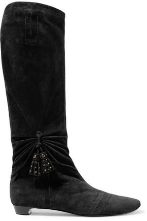 ROGER VIVIER Embellished gathered suede knee boots