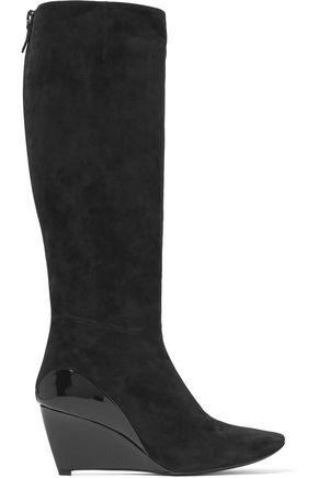 ROGER VIVIER Glossed leather-paneled suede knee boots