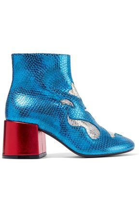 WOMAN METALLIC SNAKE-EFFECT LEATHER ANKLE BOOTS BRIGHT BLUE