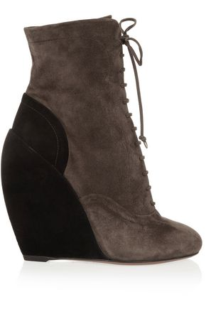 ALAÏA Two-tone suede lace-up wedge boots