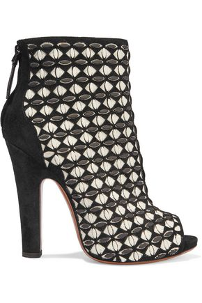 ALAÏA Laser-cut suede and leather ankle boots