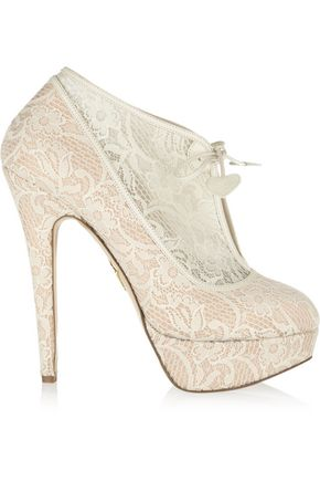 CHARLOTTE OLYMPIA Minerva lace and satin ankle boots