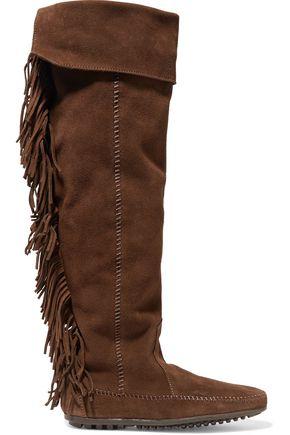MAJE + Minnetonka fringed suede knee boots