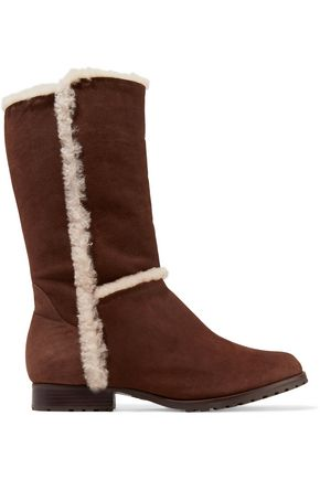 SCHUTZ Angel shearling-trimmed nubuck knee boots
