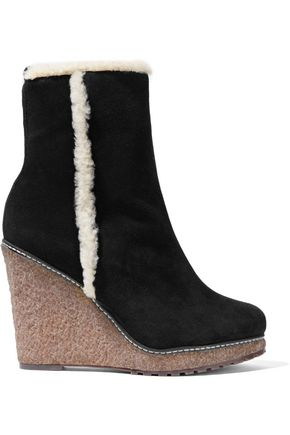 SCHUTZ Destini faux shearling-trimmed suede platform boots