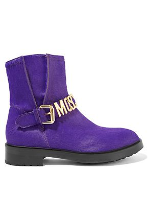 MOSCHINO Buckle-detailed calf hair ankle boots