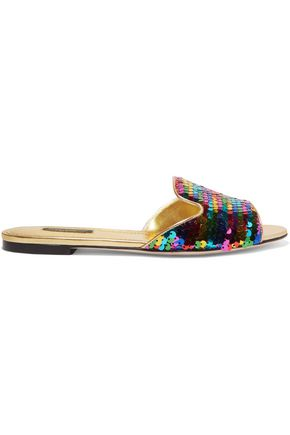 DOLCE & GABBANA Sequined metallic leather slides
