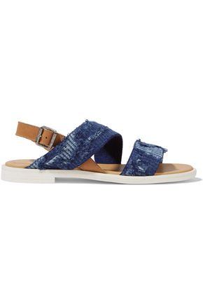 MM6 MAISON MARGIELA Distressed denim and leather sandals