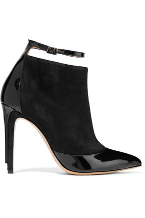 MAISON MARGIELA Two-tone patent leather-trimmed suede ankle boots