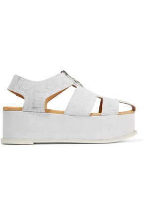 MM6 MAISON MARGIELA Cutout snake-effect leather platform sandals