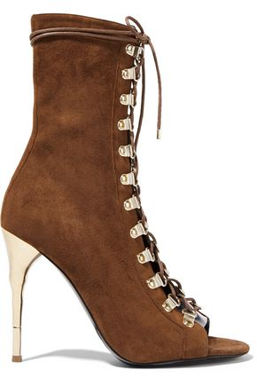 BALMAIN Lace-up suede boots