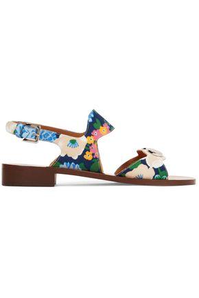CARVEN Embellished floral-print crepe sandals
