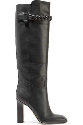 VALENTINO Intrecciato-trimmed leather boots