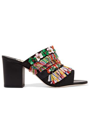 ISA TAPIA Merengue fringed embellished faille mules