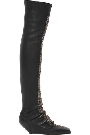 RICK OWENS Sequined leather wedge over-the-knee boots