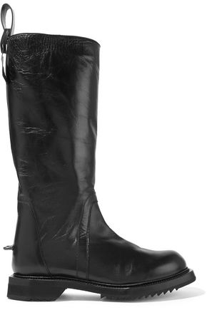 RICK OWENS Textured glossed-leather knee boots