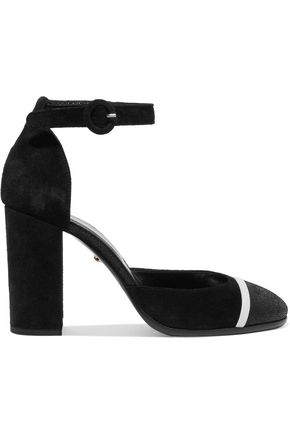 JUST CAVALLI Leather-trimmed suede pumps