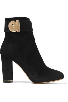 SALVATORE FERRAGAMO Embellished suede ankle boots