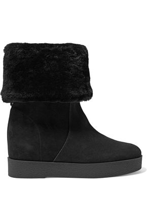 SALVATORE FERRAGAMO Shearling-lined suede boots