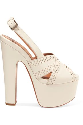 ALAÏA Laser-cut leather slingback platform sandals