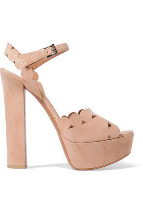 ALAÏA Laser-cut suede platform sandals