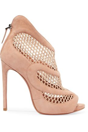 ALAÏA Crochet-knit and suede-paneled sandals