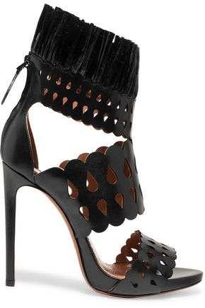 ALAÏA Raffia-trimmed laser-cut leather sandals
