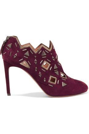 ALAÏA Embellished suede boots