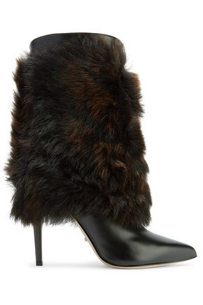 SERGIO ROSSI Layered shearling and leather boots