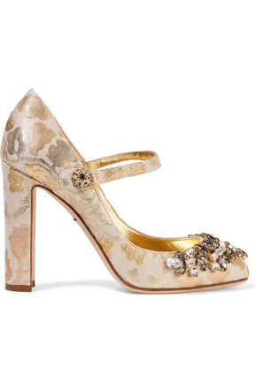 DOLCE & GABBANA Embellished metallic brocade pumps