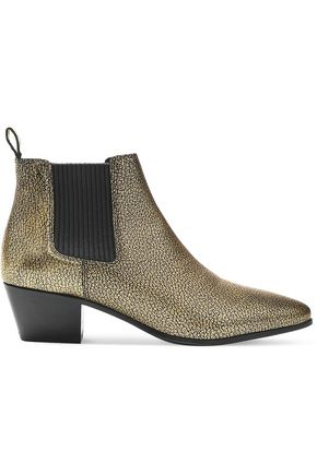 MAJE Metallic cracked-leather ankle boots