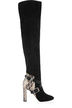 JIMMY CHOO Doma elaphe-paneled suede over-the-knee boots