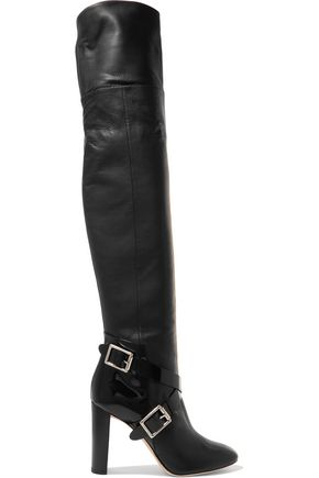 JIMMY CHOO Doma textured and patent-leather thigh boots