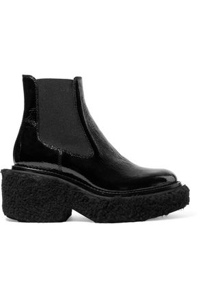 MM6 MAISON MARGIELA Shearling-trimmed textured patent-leather boots