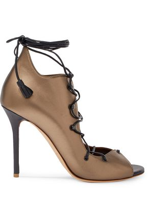 MALONE SOULIERS Savannah lace-up metallic leather sandals