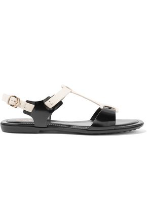 TOD'S Two-tone suede and glossed-leather sandals