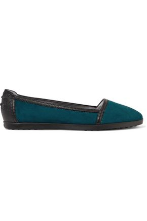 TOD'S Leather-trimmed suede ballet flats