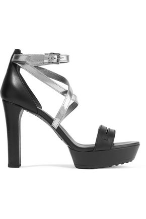 TOD'S Cutout smooth and metallic patent-leather sandals