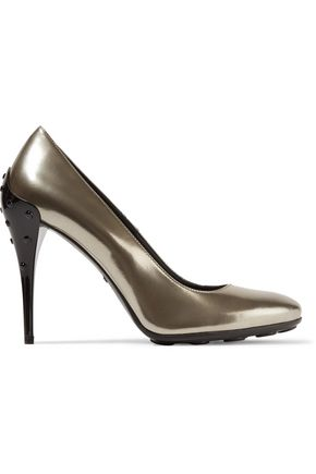 TOD'S Metallic patent-leather pumps
