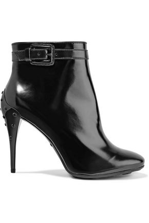 TOD'S Stud-embellished glossed-leather ankle boots
