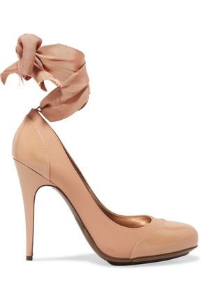 LANVIN Grosgrain-trimmed paneled leather pumps