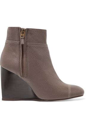 LANVIN Textured-leather wedge boots