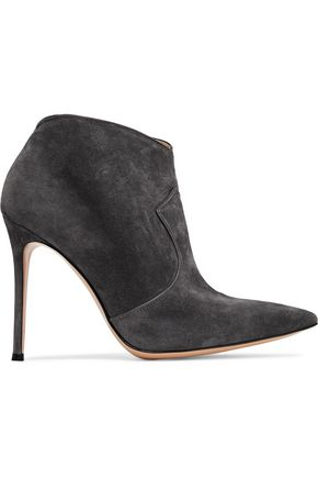 GIANVITO ROSSI Leather-trimmed suede ankle boots