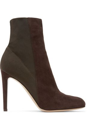 GIANVITO ROSSI Canvas-paneled suede ankle boots