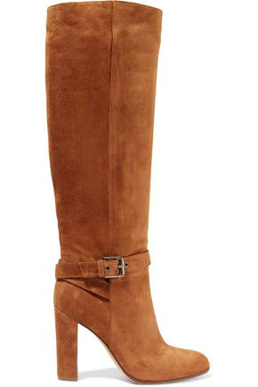 GIANVITO ROSSI Buckled suede knee boots