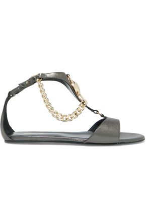 JUST CAVALLI Embellished metallic leather sandals